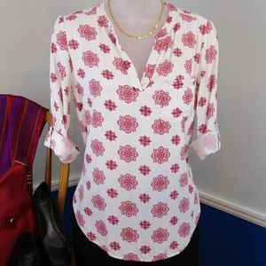 Comfy and Cute Red Medallion Print Rayon Shirt